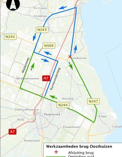 Overzichtskaart Werkzaamheden brug Oosthuizen